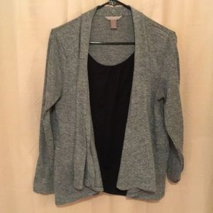 Grey cardigan with built in black top